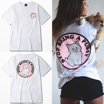 2016 New Women's Fashion Short Sleeved O-neck T-shirt Women Printed Little Cat Casual Slim Fit T-shirts [8833479180]