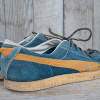 Vintage 70's Suede Leather USA Blue Bird Puma Tennis Shoes