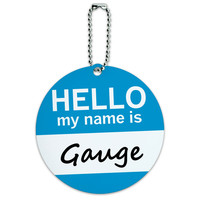 Gauge Hello My Name Is Round ID Card Luggage Tag
