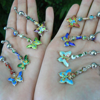 PICK ONE butterfly belly ring cloisonne butterfly beads in beach boho gypsy hippie belly dancer  fantasy beach hipster and fantasy style