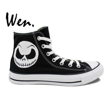 Wen Black Hand Painted Shoes Design Custom Nightmare Before Christmas Skull Jack Skelli Head High Top Men Women's Sneakers