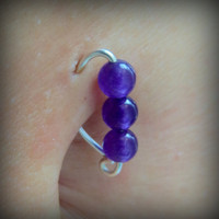 20g Amethyst Jade Belly Button Ring / Argentium Silver or 14K Gold Fill