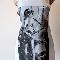 Amy Winehouse playing guitar Tank Top. Free size white cotton unisex mens womens Tank Top with breast pocket.