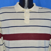 80s Campus Striped Polo Sweater Medium