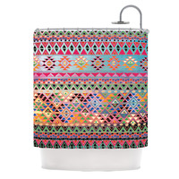 "Nika Martinez ""Tribal Native"" Red Pattern Shower Curtain"