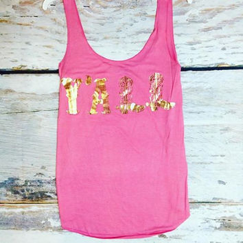Y'ALL TANK IN PINK/GOLD