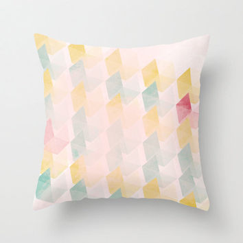 Pillow Cover, Throw Pillow, Nursery Room Pillow, 16x16 Pillow Decorative, Yellow Pink Pattern, Pastel Colors Pillow, Home Decor -  Portofino