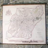Map of Moscow. Canvas,antique wooden frame. Large decor for huge wall. vintage urban modern