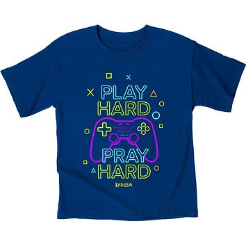 Kerusso Play Hard Pray Hard Gamer Christian Toddler Youth Bright T Shirt