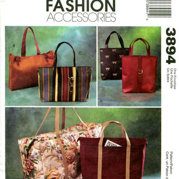Overnight Bag HANDBAG PURSE DUFFLE Bag Pattern Tote Bag Pattern Fabric Handbag McCalls 3894 Fashion Accessories Craft Sewing Patterns UNCuT