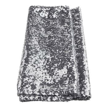 Sparkling Sequins Fabric Table Runner, 14-Inch x 108-Inch, Silver