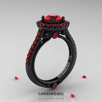 Caravaggio 14K Black Gold 1.0 Ct Rubies Engagement Ring, Wedding Ring R621-14KBGBR