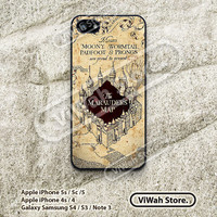 Harry Potter Marauders Map iPhone 4 Case, vintage classic marauder's map iPhone 4 4g 4s Hard Rubber Case cover skin for iphone 4/4g/4s case