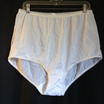 Vintage Sears Granny 9 XL White Full Cut Panty Nylon Cotton Gusset Panties Hip 43-44 Pillow Tab