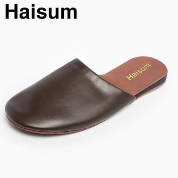 2017 Men's Spring Indoor/Outdoor PU Leather Slippers Haisum Anti-slip Closed Toes House Sandals tb002