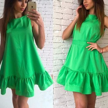Green Plain Ruffle Round Neck Sleeveless Mini Dress