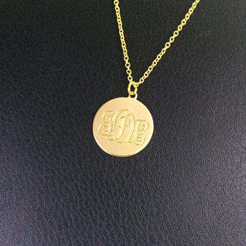 SALE NOW - Gold Monogram disc Necklace, choose any initials in Silver or Gold celebrity inspired, Initial Necklace
