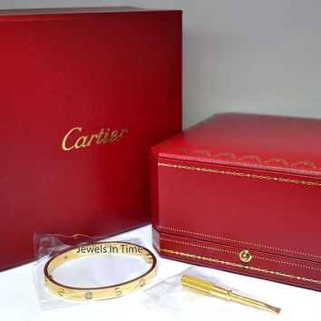 One-nice? Cartier Diamond Love Bracelet Size 17 18k Gold Box/Certificate/Screwdriver N