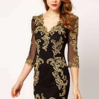 Bqueen Baroque Mesh Dress K490E