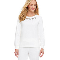 Ruby Rd. Beaded French Terry Sweatshirt - Winter White
