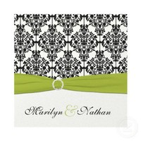 Green, White and Black Damask Wedding Invitation from Zazzle.com