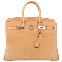 U MUST! NEW COLOR Hermes Birkin Bag 35cm CROCODILE MATTE MAIS GOLD HARDWARE