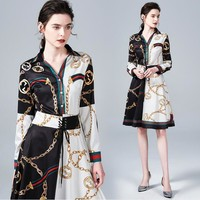 GUCCI Popular Women Casual Print Long Sleeve Lapel Shirt Dress