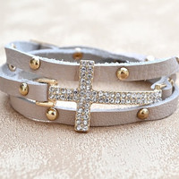 Sideways Cross Leather Wrap Bracelet Beige
