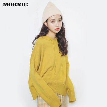 MORNIE 2016 new winter sweater Korean style women hooded preppy pullover sweaters female solid knitted woolen cotton clothing