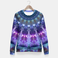 Regal Blue and Purple Kaleidoscope Half Fitted Waist Sweater, Live Heroes