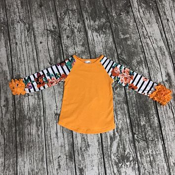 thanksgiving baby Fall/winter girls full sleeve icing cotton print boutique top T-shirt ruffles clothes ningbo baby kids wear