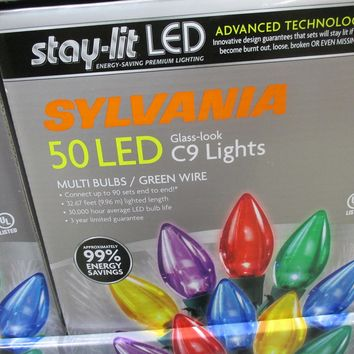 Sylvania Stay-lit LED Multicolored Faceted C9 Lights, 50