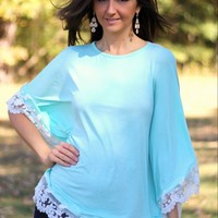 Auditions Mint Lace-Trim Poncho Style Top