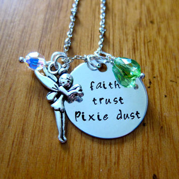 "Disney's ""Peter Pan"" Inspired Tinkerbell Necklace. Faith, Trust, Pixie Dust. Charm Pendant, Swarovski crystal, for women or girls."