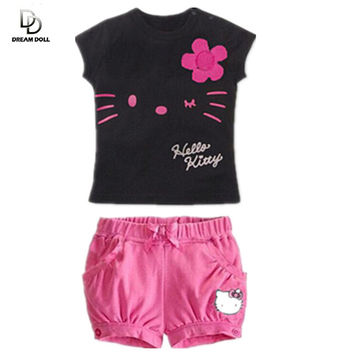 Trendy Kids Clothing Hello Kitty Flower Top Tee T-Shirt and shorts bundle baby kids youth set