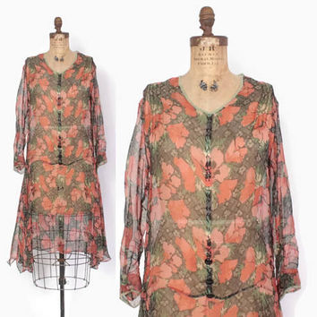 Vintage 20s Semi Sheer Floral DRESS / 1920s Long Sleeve Poppies Print Day Dress M