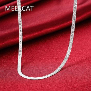 """Silver Necklace Short Blade Necklace of Clavicle Silver Plated Accessories Jewelry Flat Snake """"I LOVE YOU"""" Letters Heart Chain"""