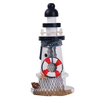 YESURPRISE Lifebuoy& Starfish Fishnet&Shell Wooden Lighthouse Watchtower Home Décor Lantern Openwork Nautical Gifts for Kids Living Room Kitchen Desk Table Mediterranean Style Ocean Sea Beach Decorati