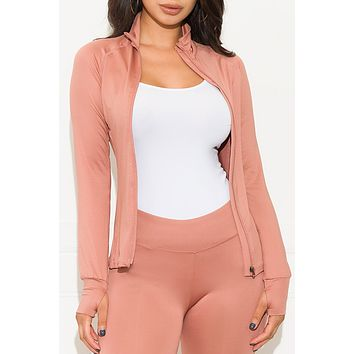 Don't Let Me Down Active Jacket Dusty Pink