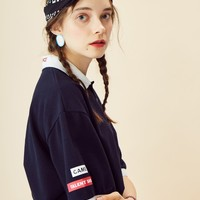 [LUV IS TRUE] RE GAME PIQUE SHIRT (NAVY)