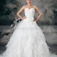 Sweetheart Organza Ball Gown with Ruffled Skirt and 3D Flower