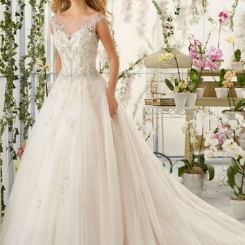 Crystal Beaded Embroidery on Tulle Wedding Dress | Style 2818 | Morilee