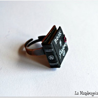 Mini Book Ring. Book of Shadows. Adjustable ring