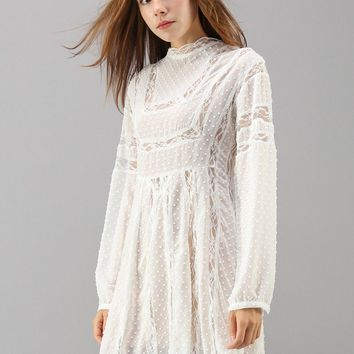 Alluring Maze Chiffon Lace Dress in White