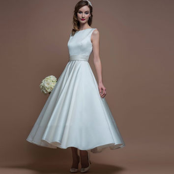 Honey Qiao Ivory Cheap A-Line Satin Ankle Length Short Bridesmaid Dresses 2017 V Back Tank Sleeves Vintage Prom Gowns