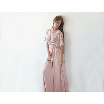 Pink Blush dress , Maxi pink Bridesmaid dress ,Bat wing dress , Maxi pink sleeves dress