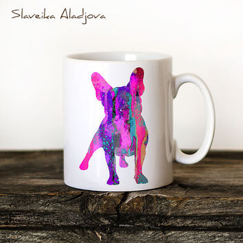 French Bulldog 4 Mug Watercolor Ceramic Mug Unique Gift Bird Coffee Mug Animal Mug Tea Cup Art Illustration Cool Kitchen Art Printed dog