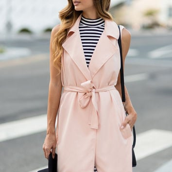 Jane Pink Sleeveless Coat