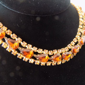 Rhinestone Bib Necklace Root Beer Topaz Prong Set Gold Tone Vintage