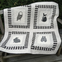 "Animal Quilt - Child's Quilt - Nursery Decor - Black and White - 42.5"" X 46.5"" - Thicket"